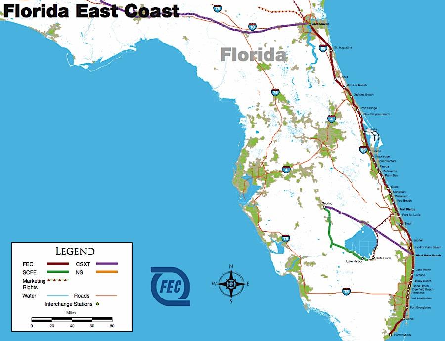 Map Florida East Coast.Hawkinsrails Florida East Coast